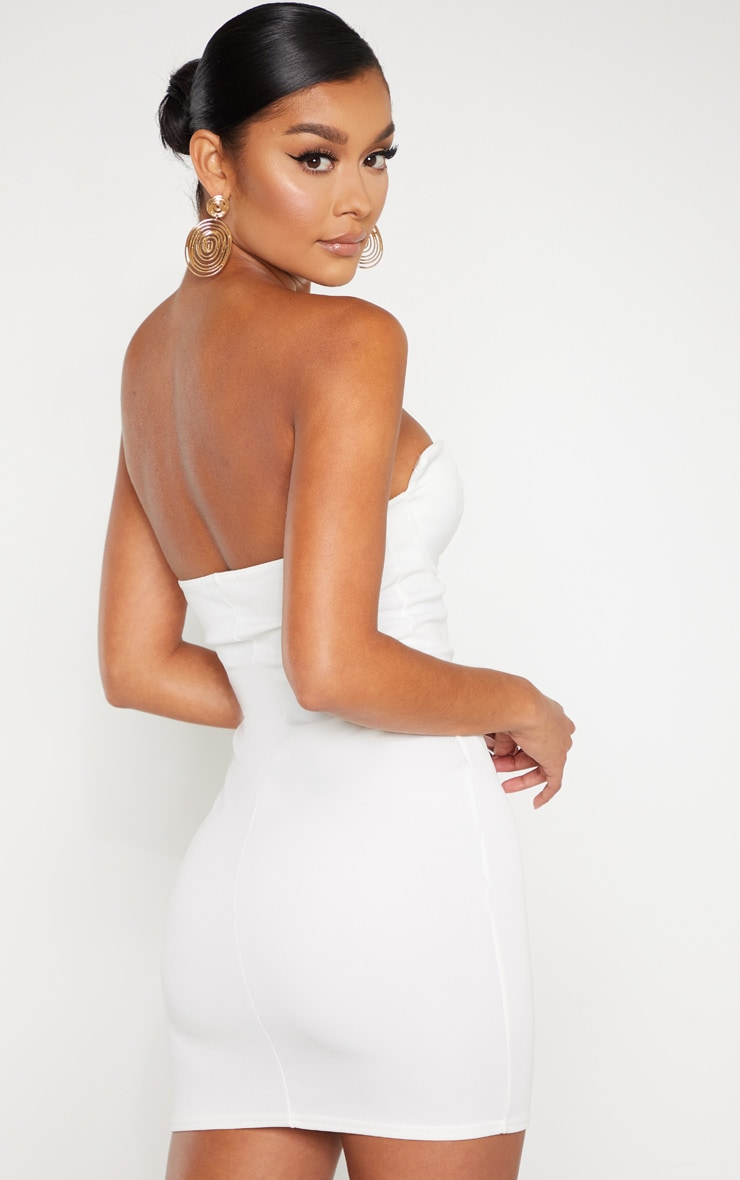 White Winged Bandeau Bodycon Dress 2