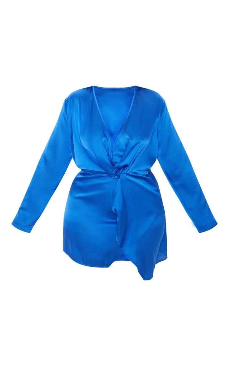 Plus Cobalt Blue Satin Long Sleeve Wrap Dress 3