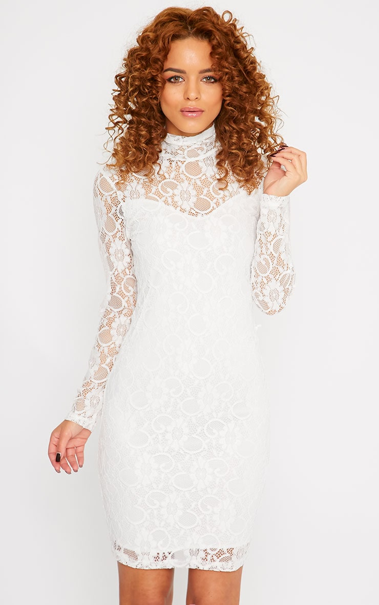 Esty White Lace High Neck Mini Dress  1