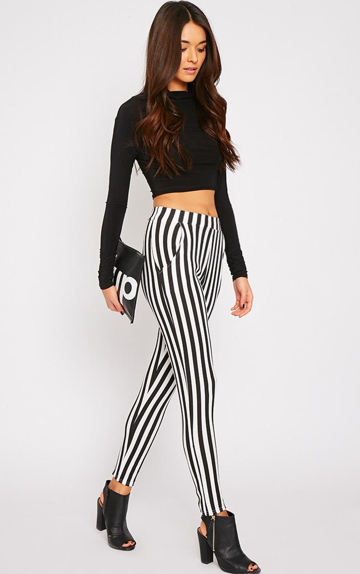 Emma Monochrome Stripe Cigarette Trousers 1