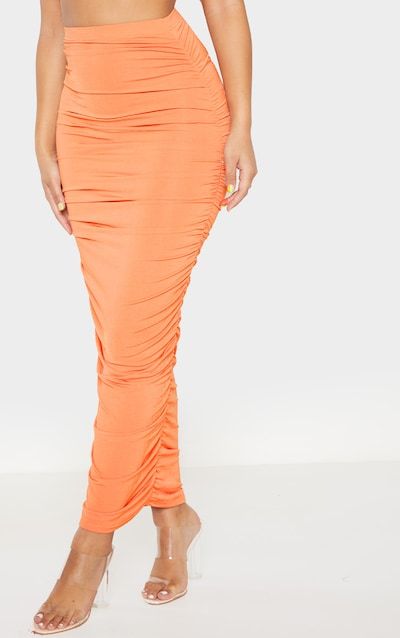 Peach Second Skin Slinky Ruched Midaxi Skirt