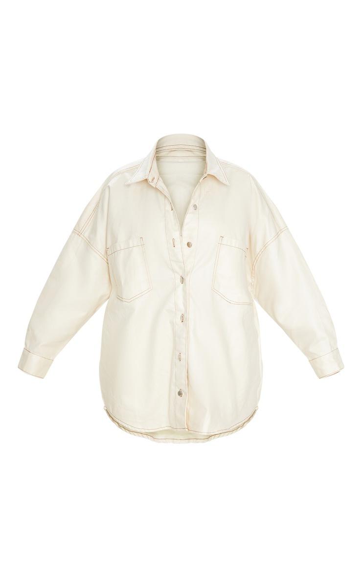 Stone PU Contrast Stitch Denim Shirt 5