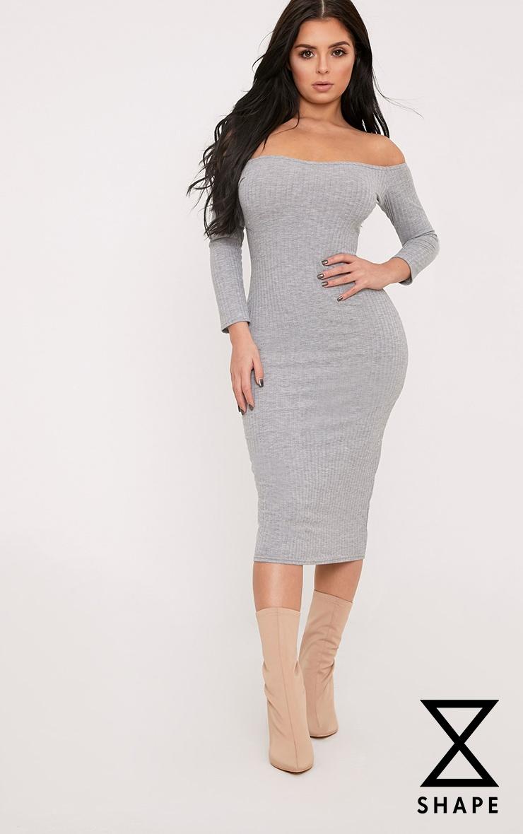 Shape Ailanna Grey Ribbed Midi Bardot Dress 1