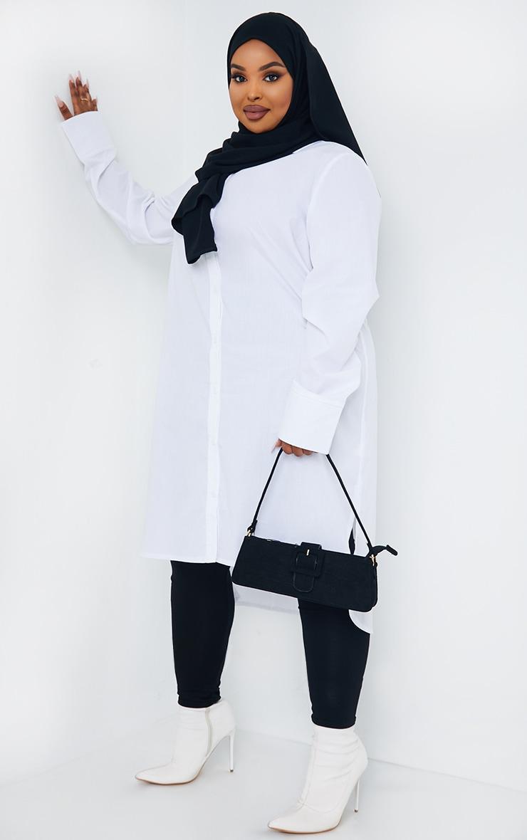 Plus White Split Hem Shirt Dress 3