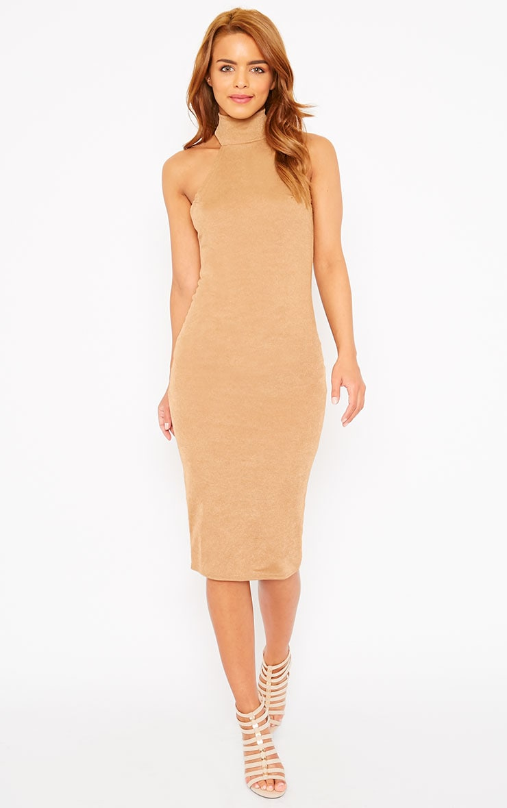 Sara Camel Polo Neck Midi Dress 4