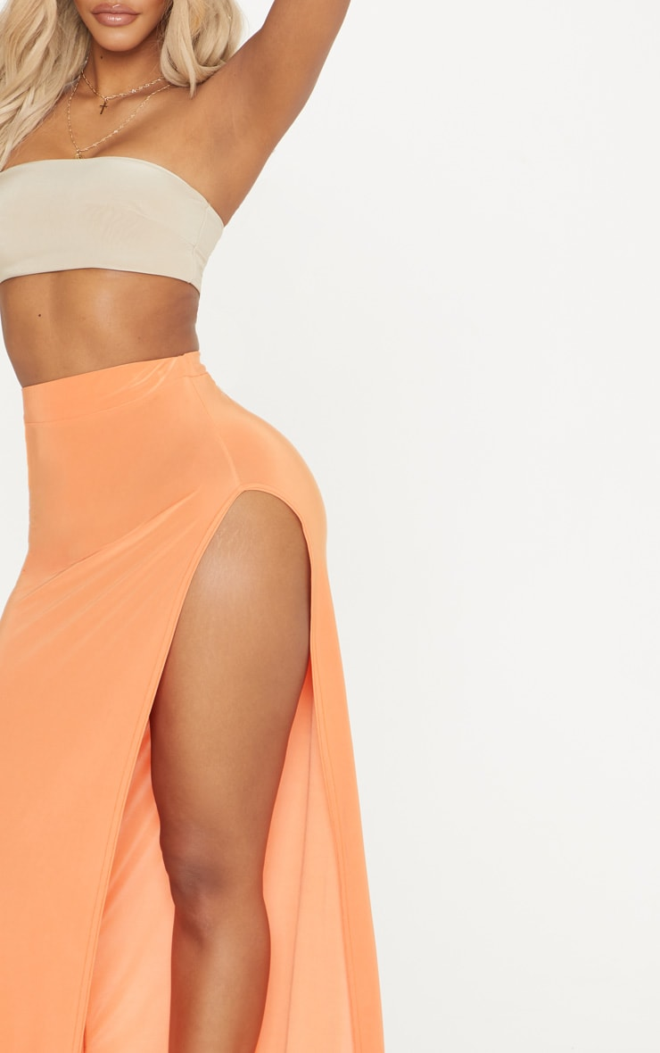 Shape Orange Extreme Side Split Midi Skirt 5