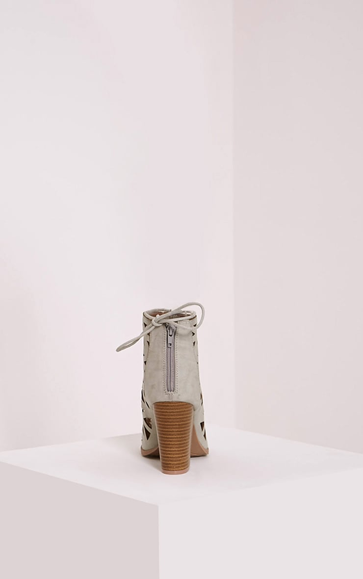 Keeley Grey Cut Out Lace Up Heeled Sandals 4