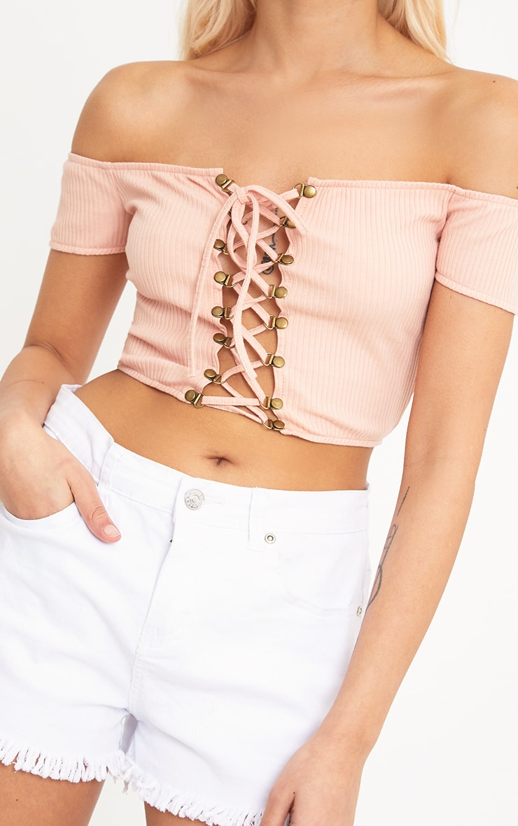 Lia Nude Ribbed Bardot Corset Detail Crop Top 5