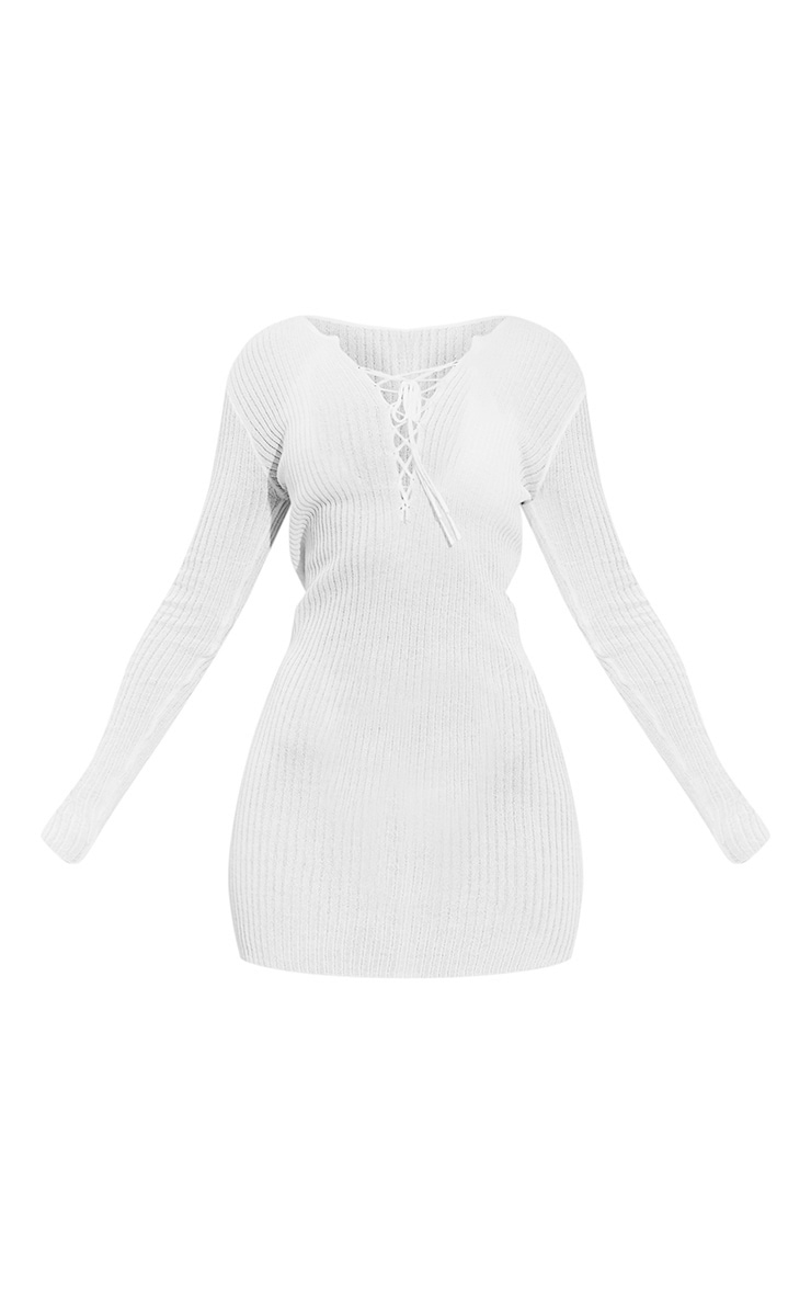 White Fine Knit Sheer Long Sleeve Lace Up Dress 5