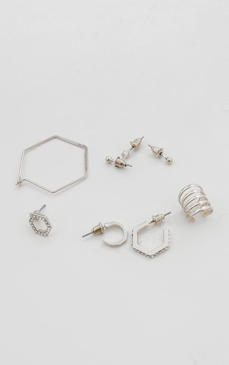 Silver Assorted Stud And Hoop Pack Earrings 3