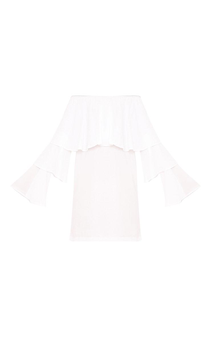 Neah White Bardot Layered Frill Shift Dress 3