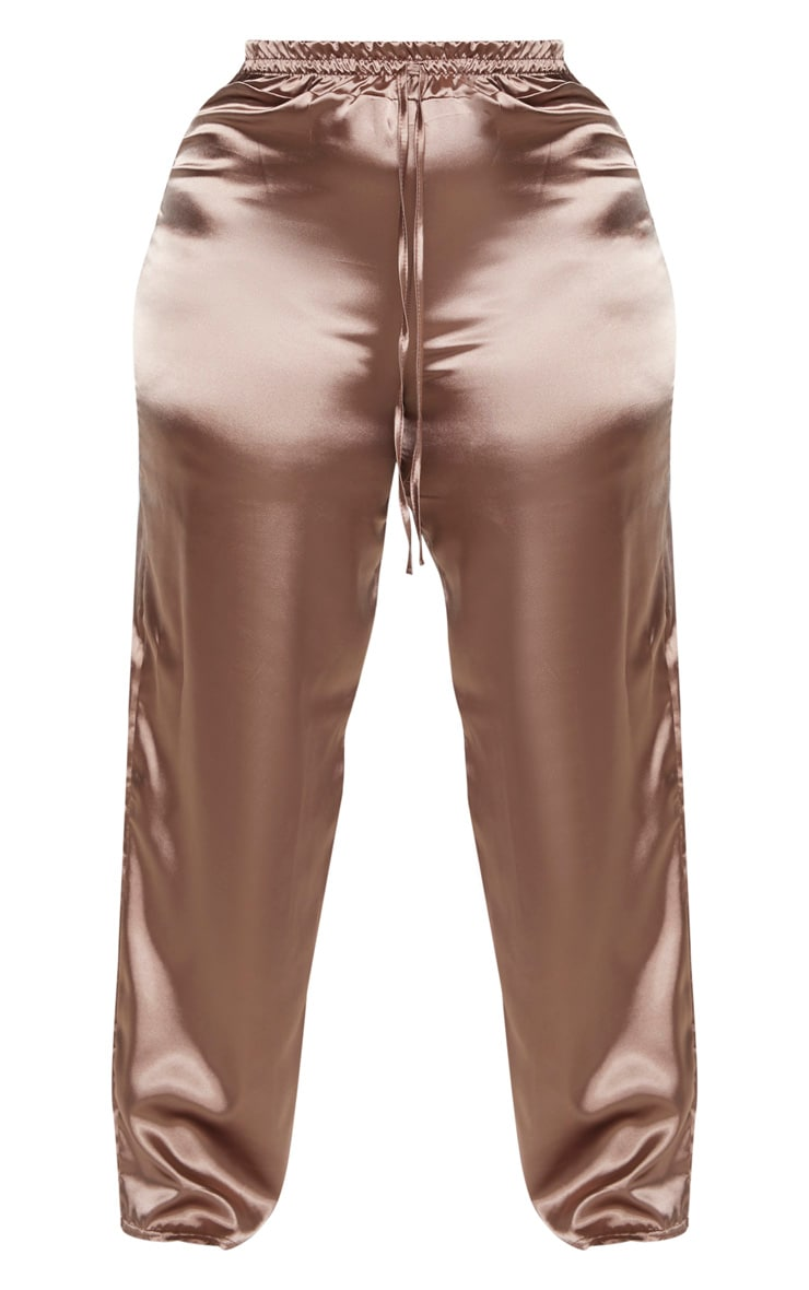 Plus Mocha Satin Drawstring Wide Leg Trouser  3