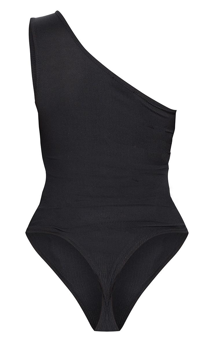 Shape Black Rib One Shoulder Underbust Bodysuit 6