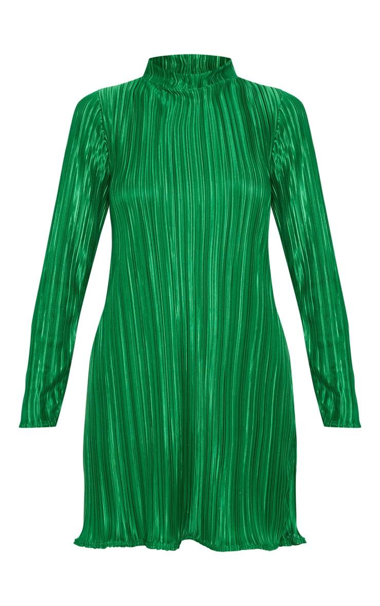 Green High Neck Plisse Swing Dress 3