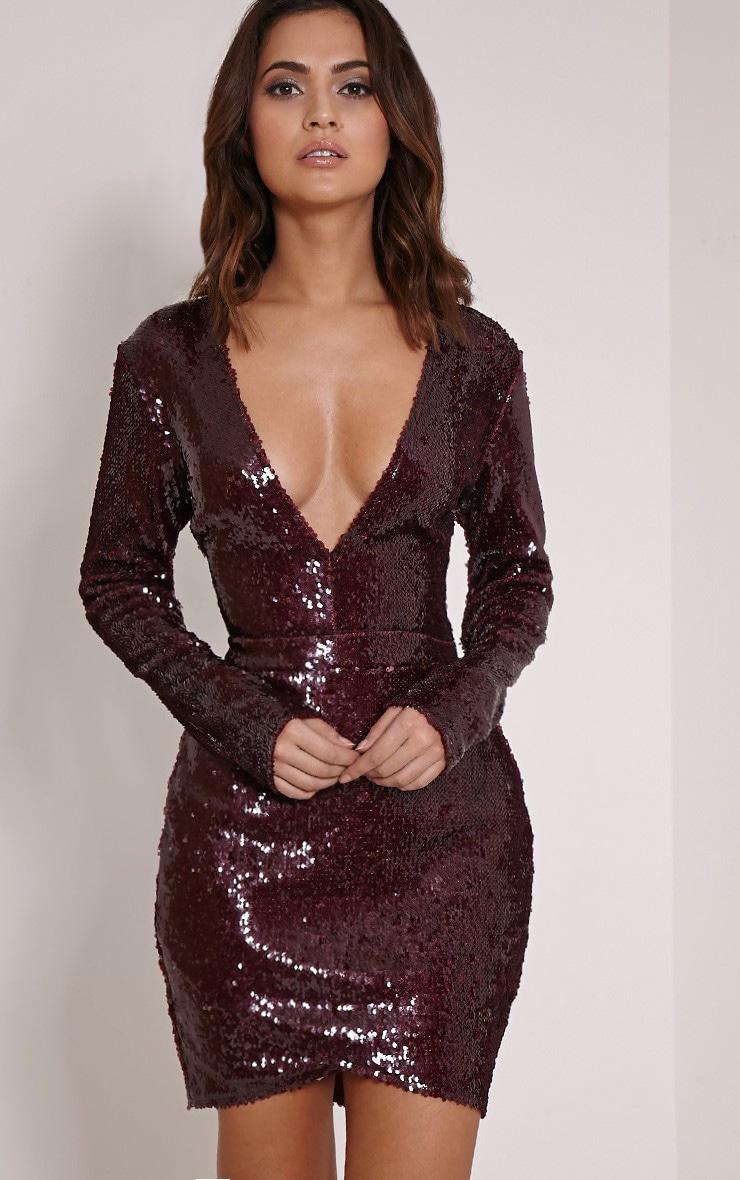 Celinna Burgundy Plunge Sequin Mini Dress 1