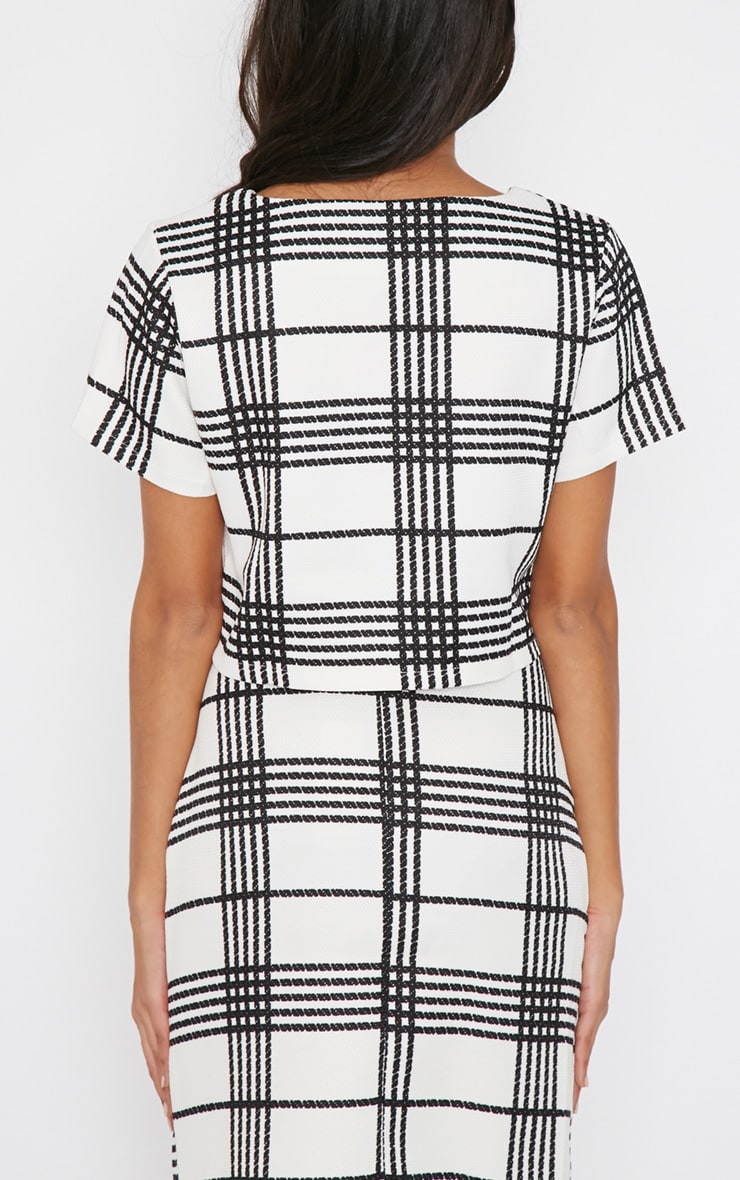 Jemma Monochrome Checked Crop Top  2