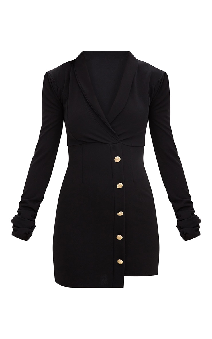 Black Gold Button Ruched Sleeve Blazer Dress 3