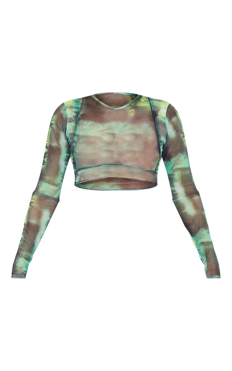 Green Abstract Water Colour Print Sheer Mesh Binding Long Sleeve Crop Top 6