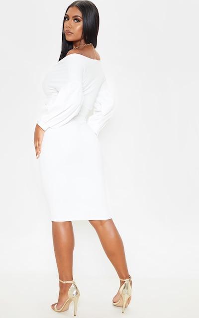 White Wrap Tie Waist Puff Sleeve Midi Dress