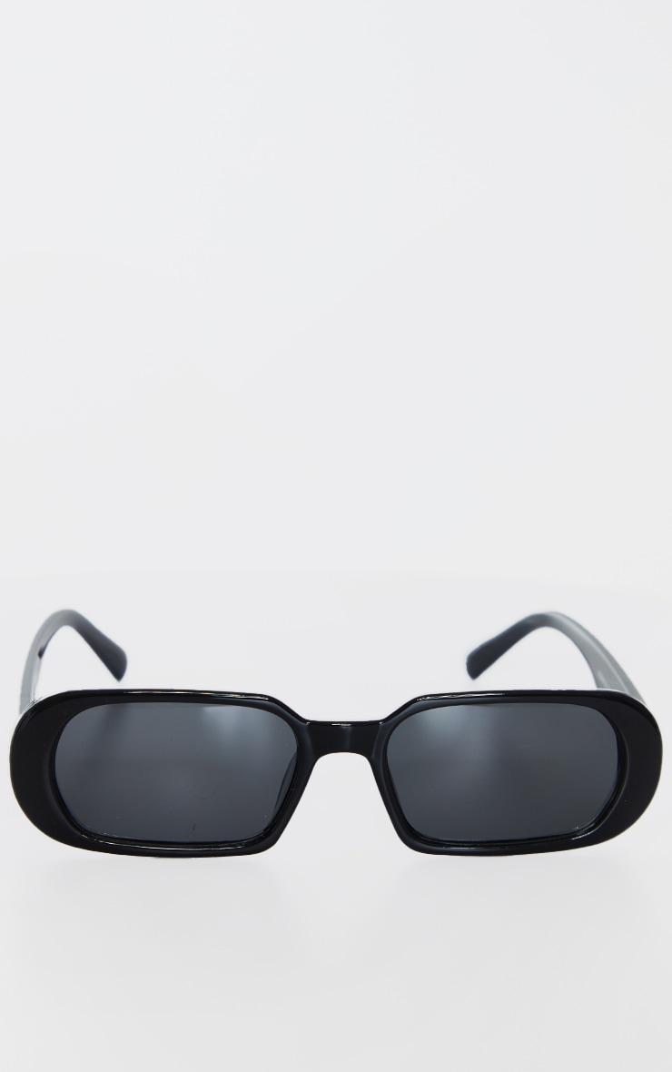 Black Round Frame Slim Sunglasses 2