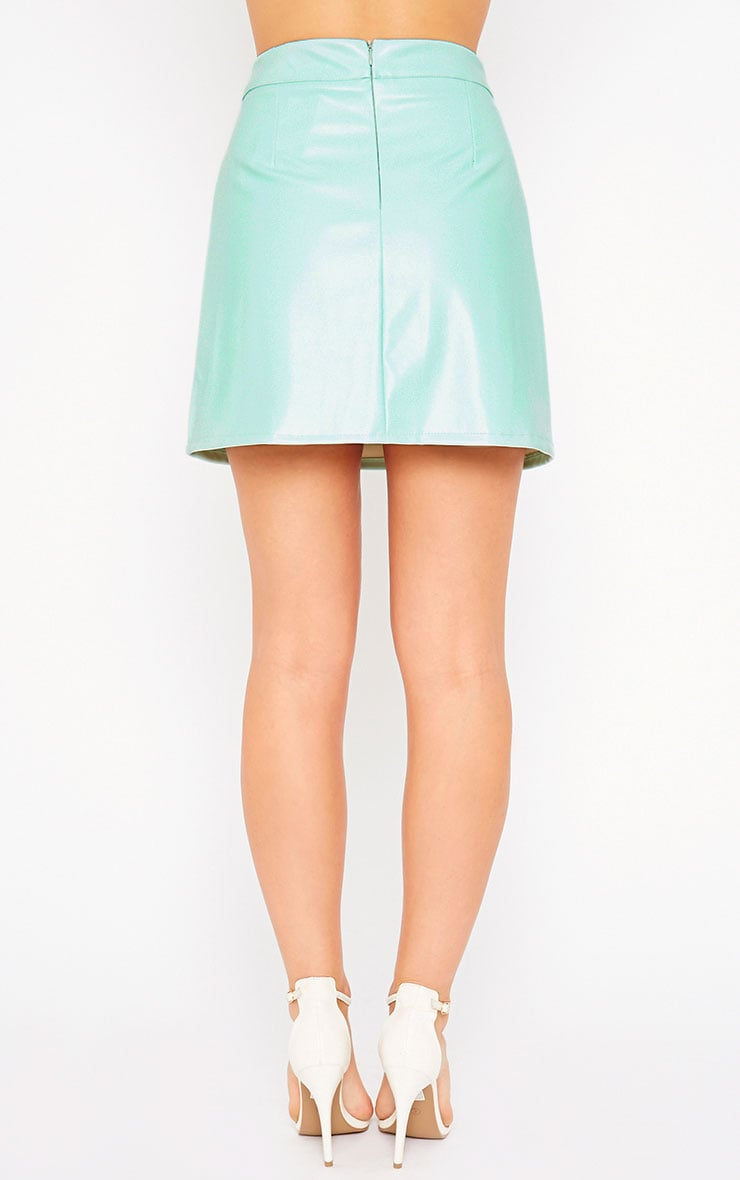 Rose Mint Faux Leather A-Line Mini Skirt 4