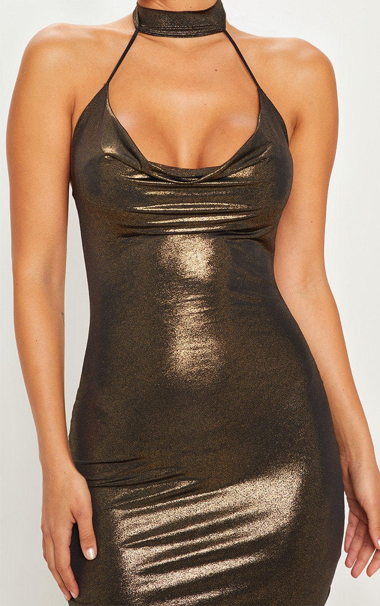 Gold Choker Detail Cowl Neck Metallic Midi Dress 5