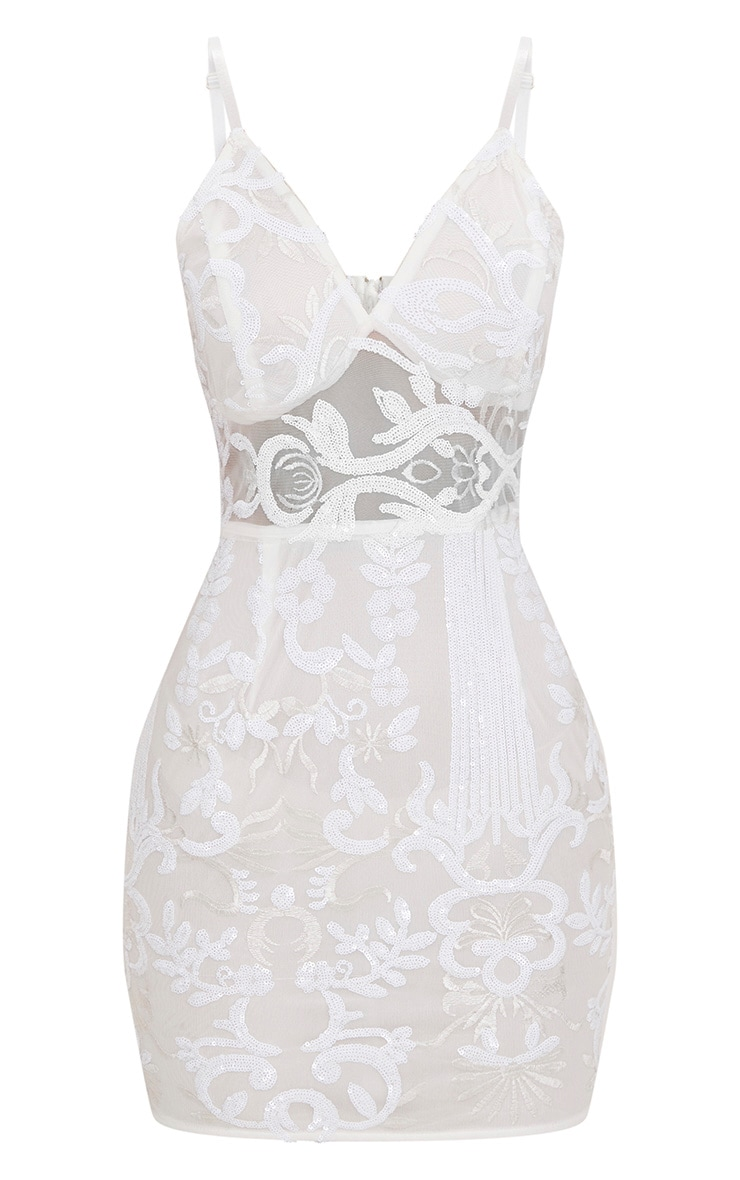 White Strappy Sheer Panel Sequin Bodycon Dress 3