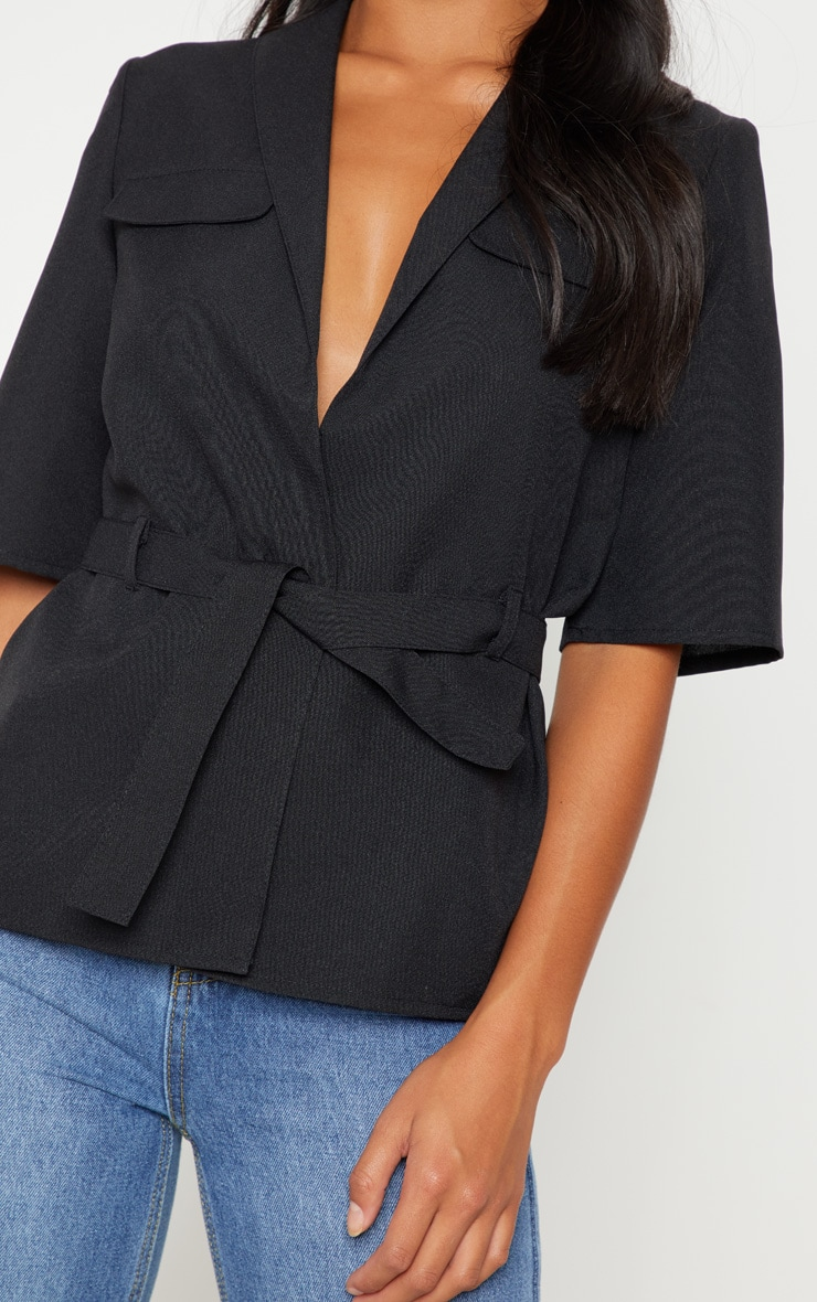 Petite Black Cargo Pocket Detail Tie Waist Shirt 5