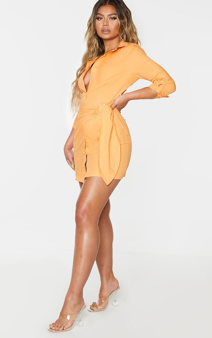 Orange Ring Detail Wrap Shirt Dress 1