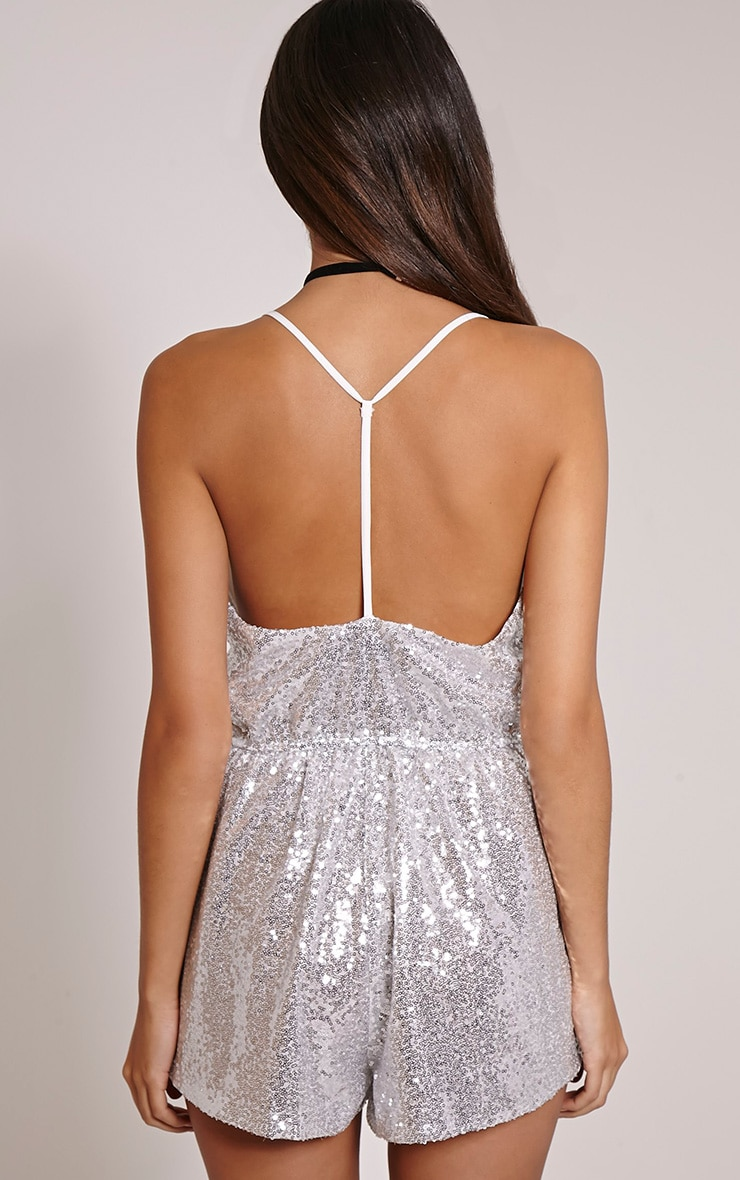 Tay Silver T Bar Sequin Playsuit 2