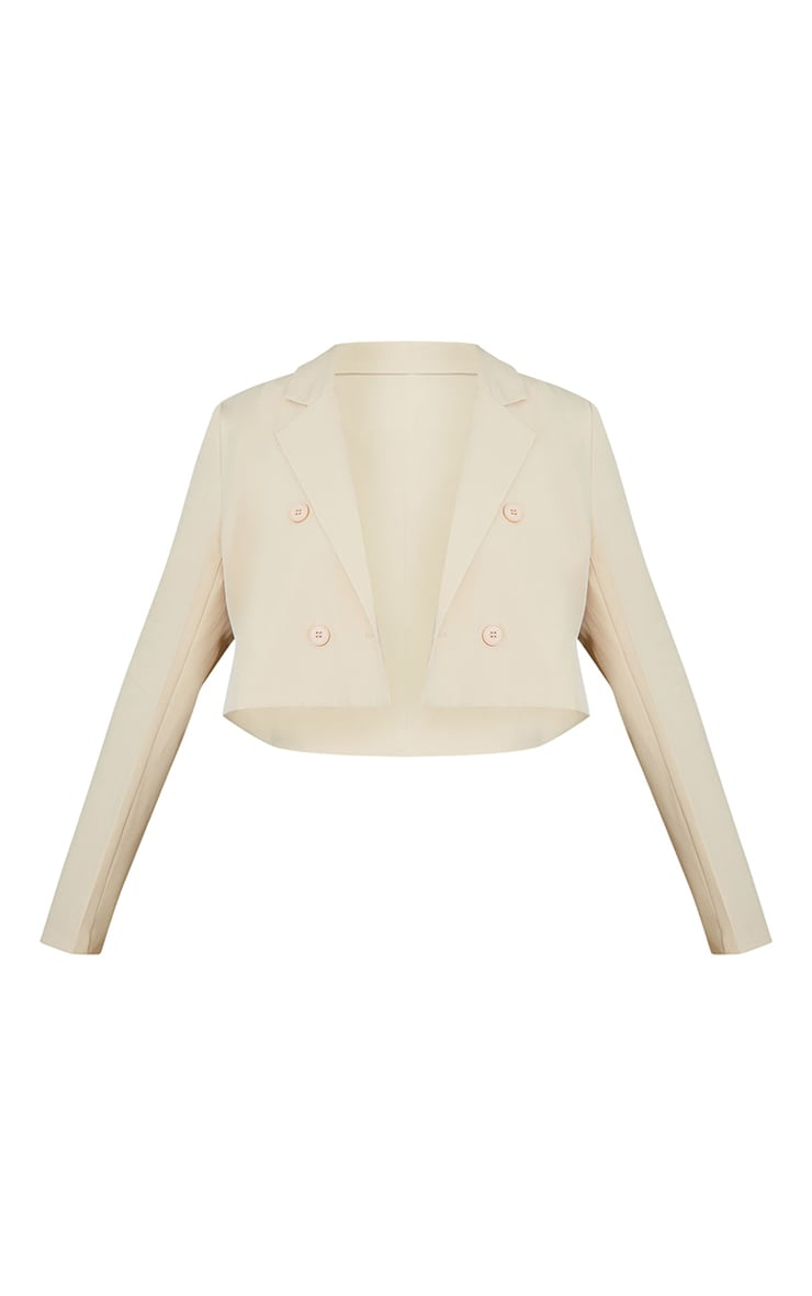 Stone Woven Double Breast Cropped Oversized Blazer 5