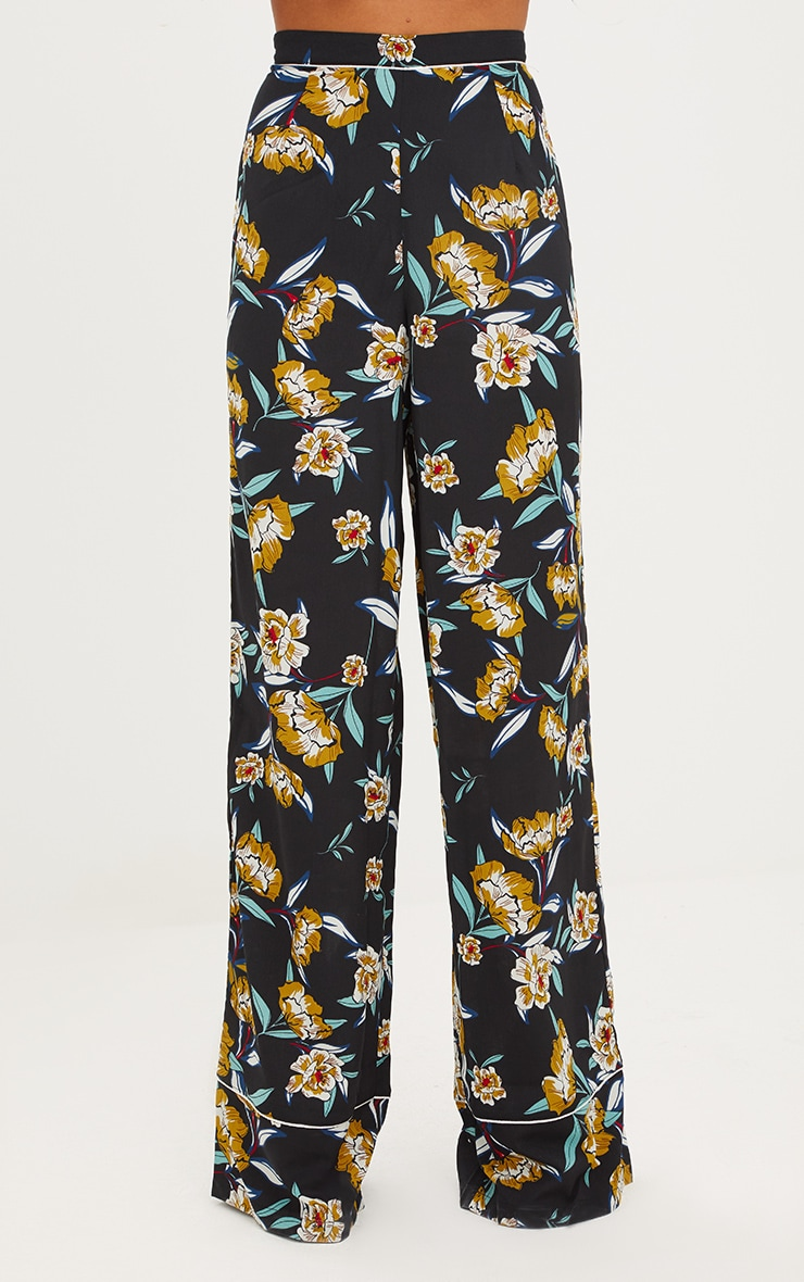Black Contrast Piping Floral Wide Leg Trousers 2