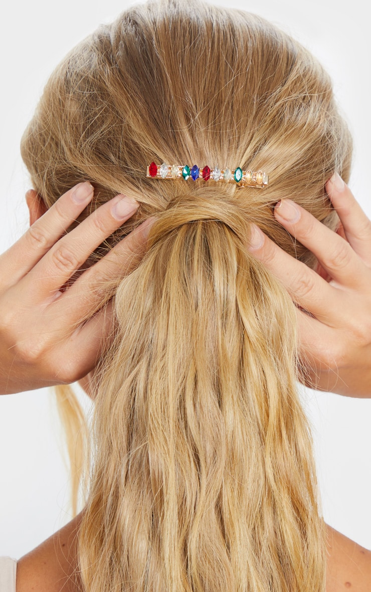 Multi Colour Baguette Jewel Hair Slide 1