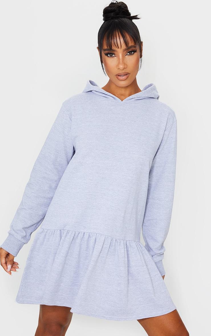 Grey Hooded Long Sleeve Pleated Hem Sweat Jumper Dress 3