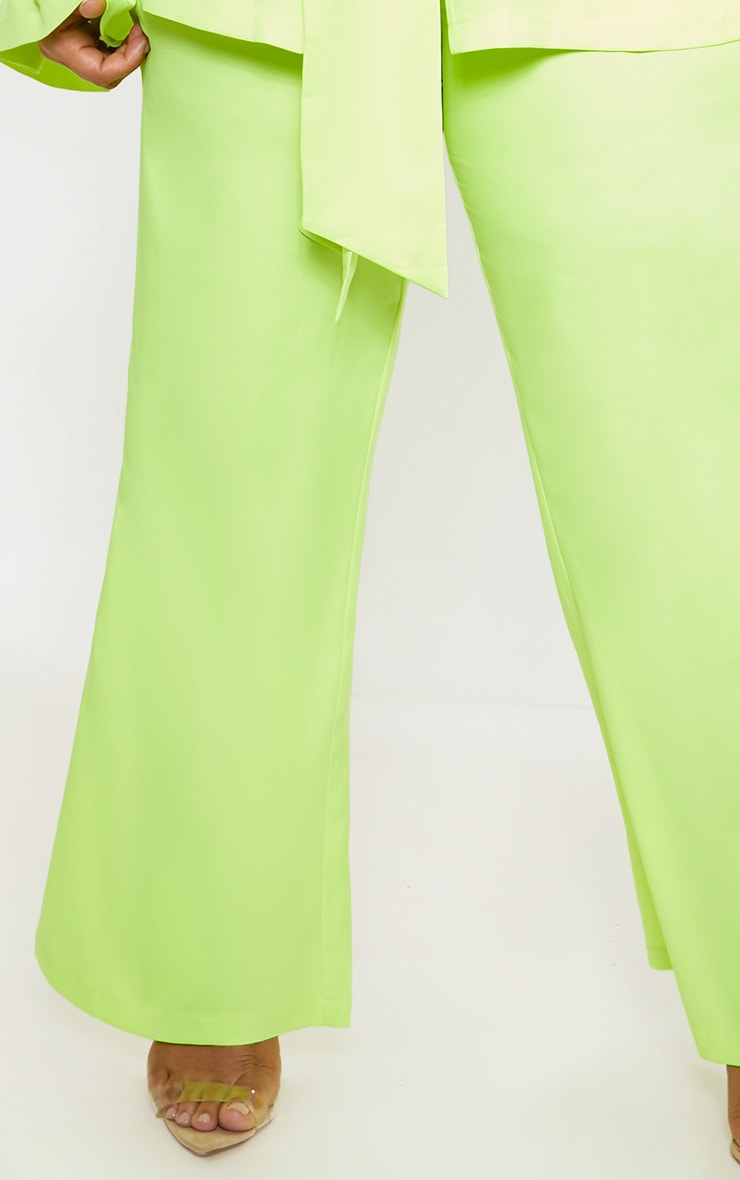 Plus Neon Lime Woven Wide Leg Suit Pants 4