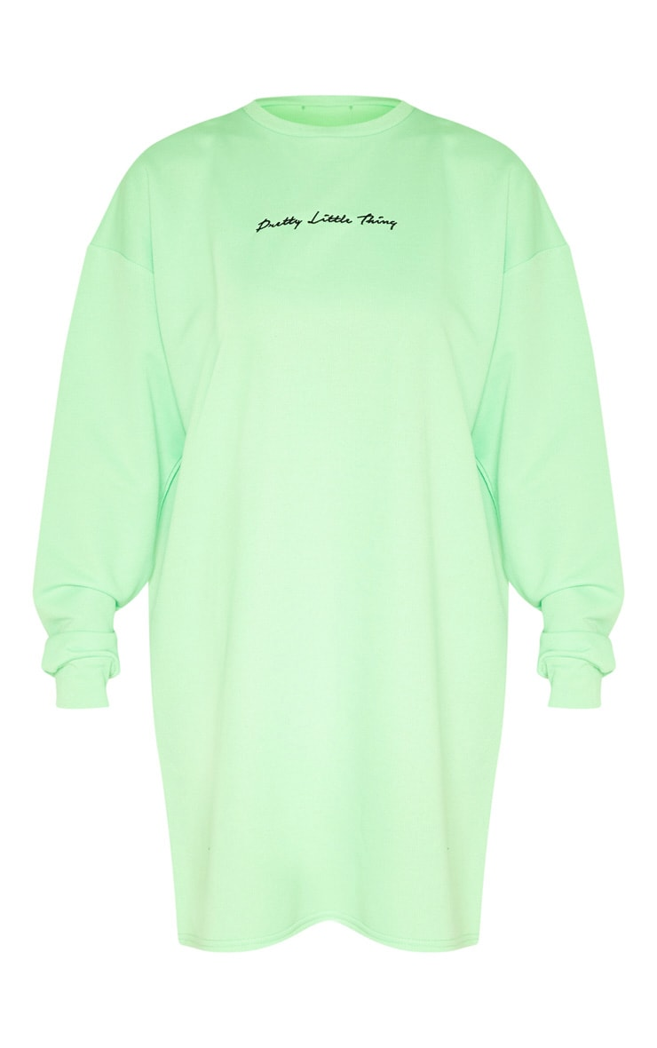 PRETTYLITTLETHING Tall Neon Lime Embroidered Jumper Dress 3