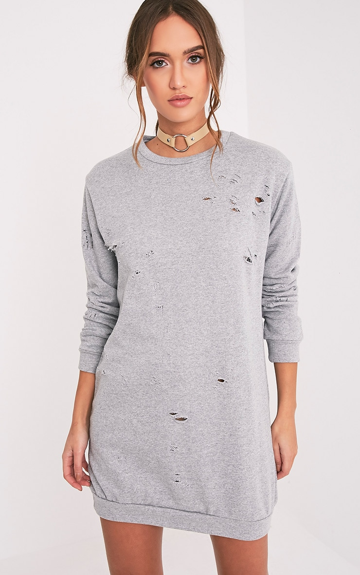 Violet Grey Distressed Long Sleeve Sweater Dress 1