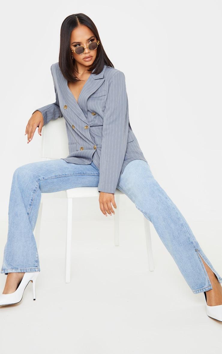 Grey Oversized Pinstripe Woven Blazer 4