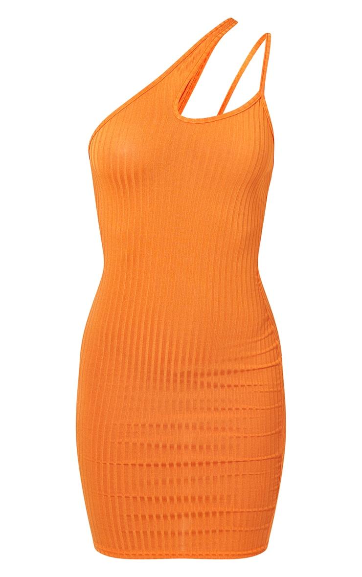 Bright Orange Asymmetric Strap Detail Dress 6