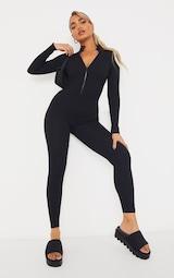 Petite Black Structured Ribbed Jumpsuit 3