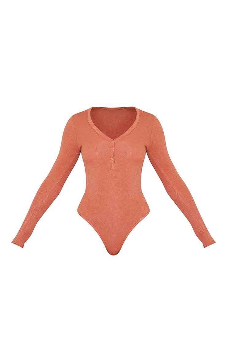 Rust Long Sleeve Popper Detail Thong Bodysuit 5