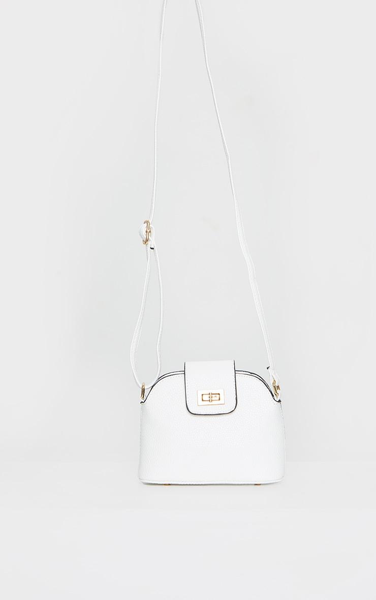 White PU Half Moon Cross Body Bag 2