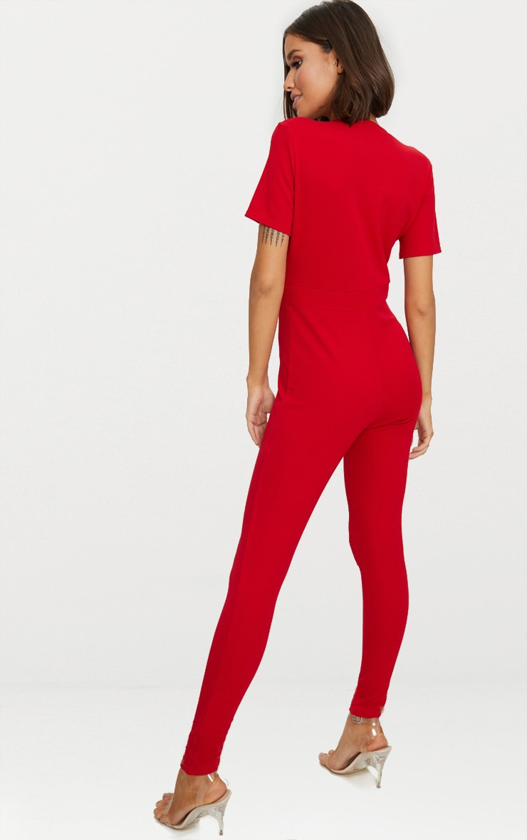 Red Short Sleeve Plunge Jumpsuit 2