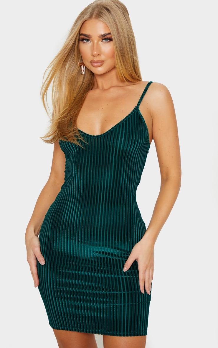 Emerald Green Velvet Ribbed Strappy Bodycon Dress 1