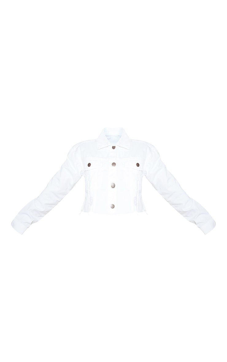 Petite White Raw Hem Cropped Denim Jacket 3