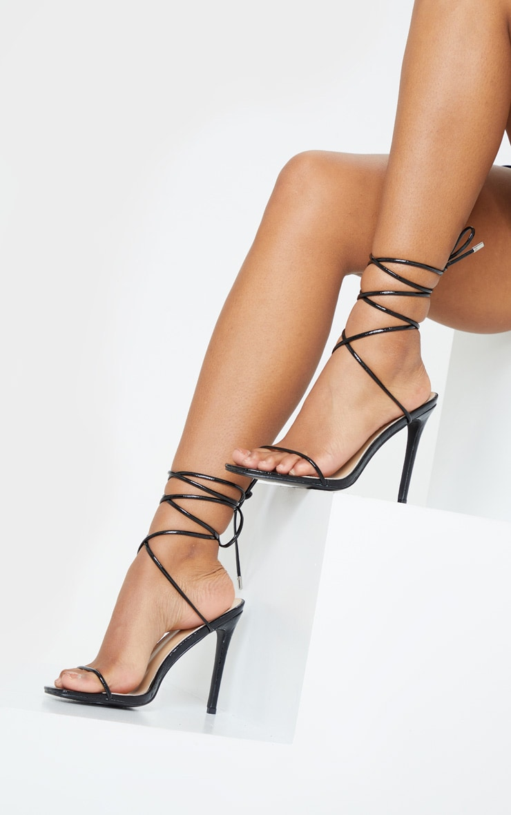 Black Croc Thin Strap Ankle Tie Strappy Sandal 1