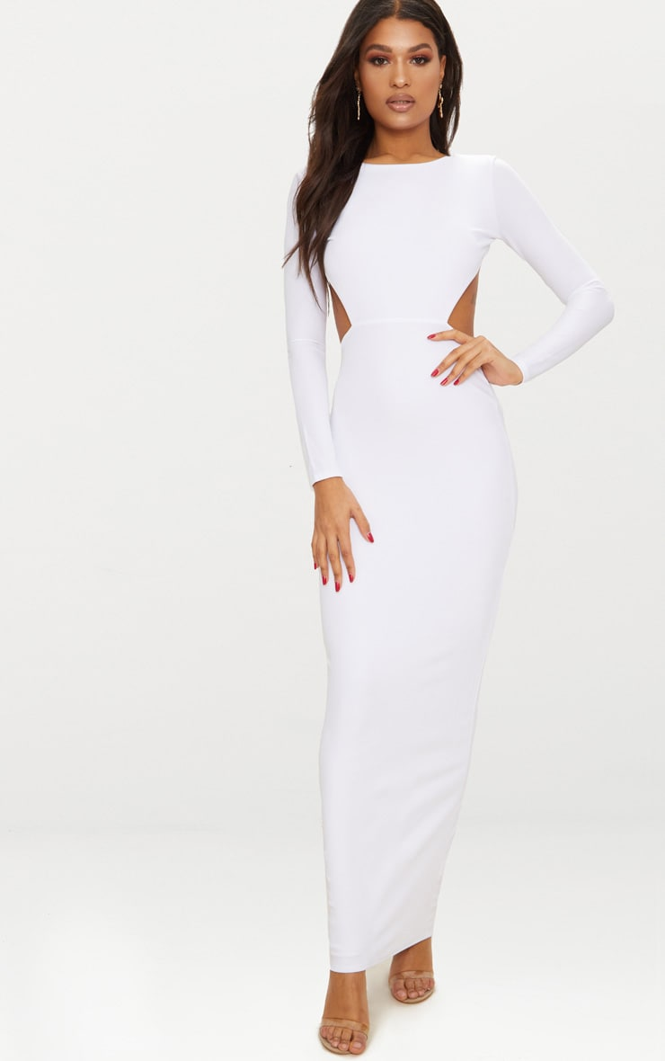 White Backless Long Sleeve Maxi Dress 1