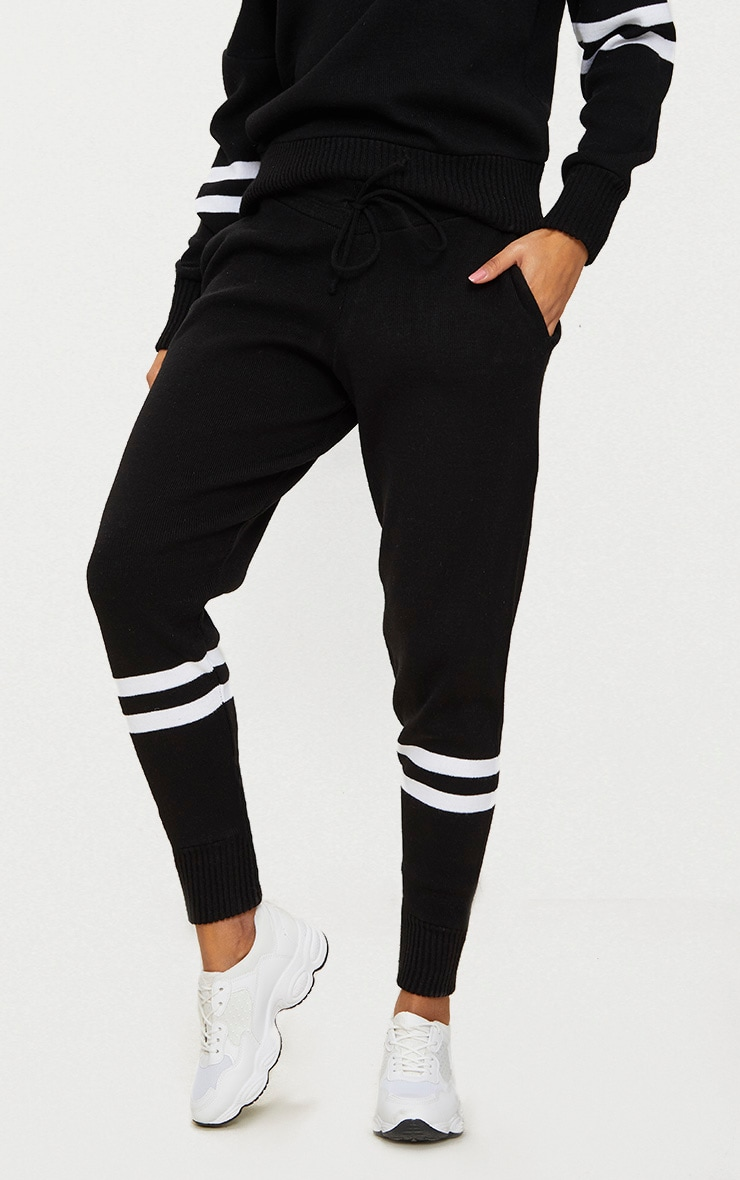 Black Stripe Detail Jogger Knitted Lounge Set 6