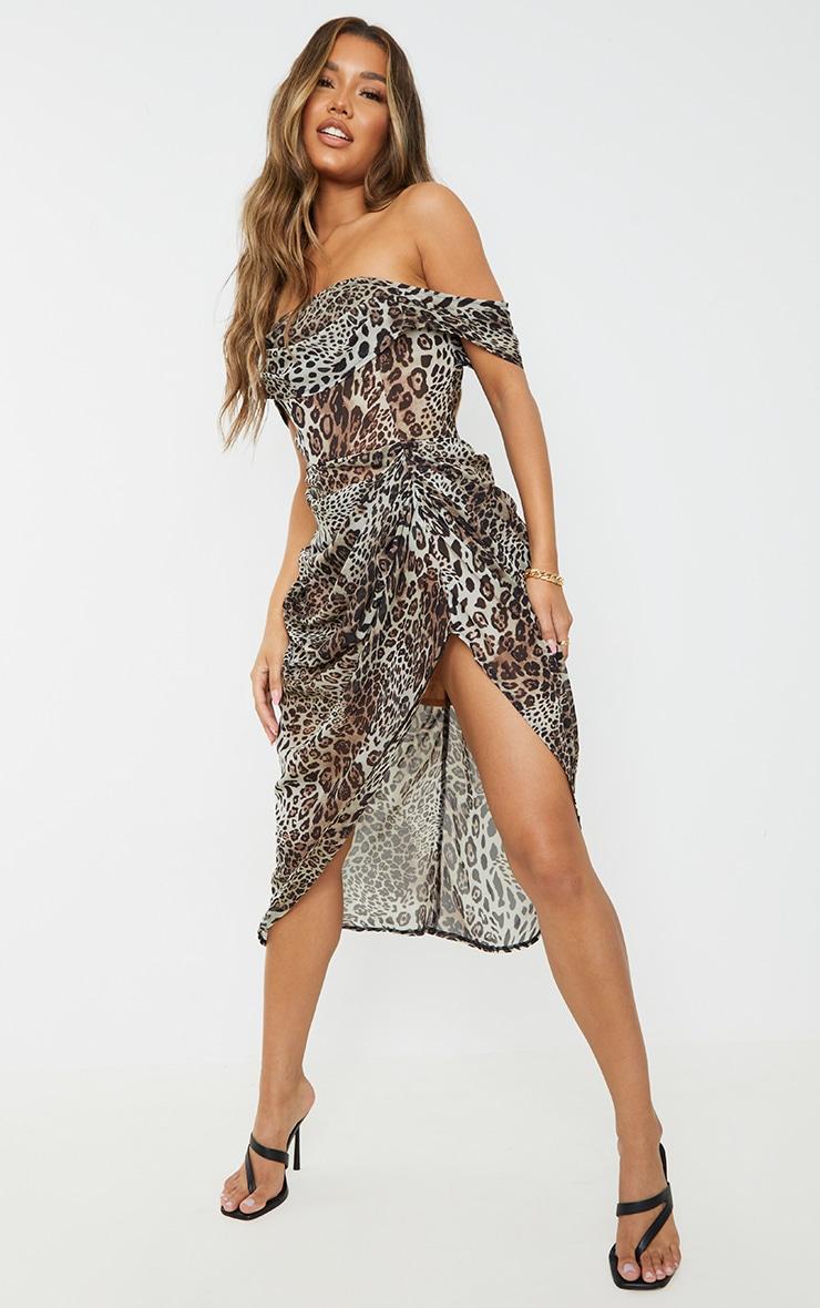 Tan Leopard Print Chiffon Draped Bardot Midi Dress 1