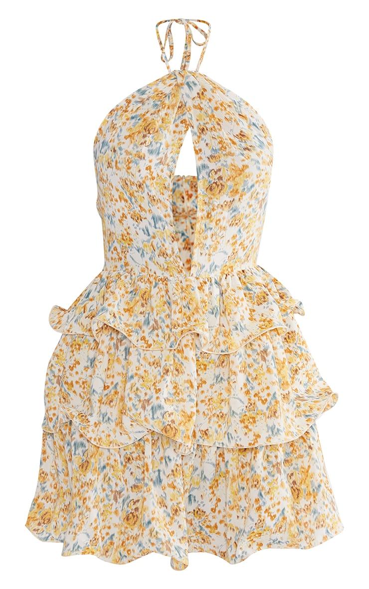 Yellow Printed Tiered Skirt Halterneck Skater Dress 5